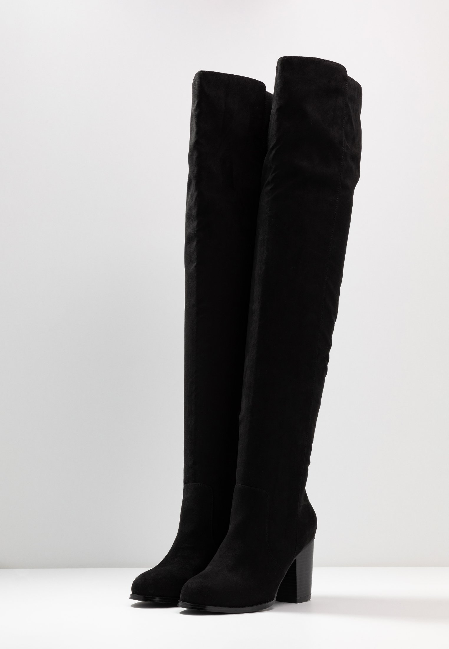 Nly by Nelly THIGH HIGH WOOD HEEL - Overkneeskor - black
