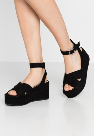 DRESSED PLATFORM - Platform sandals - black