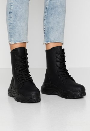HIGH SHAFT BOOT - Botki sznurowane - black