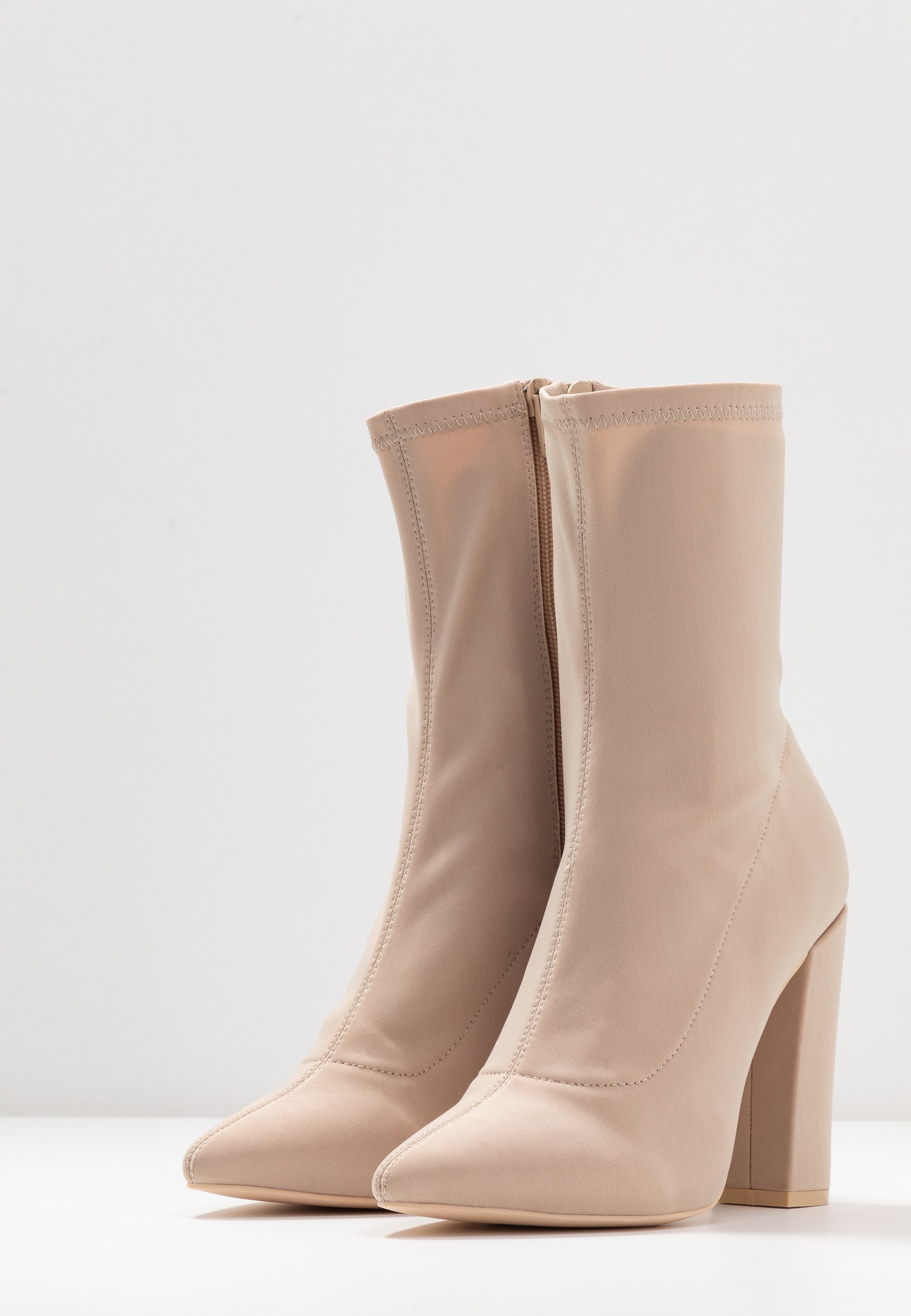 Nly By Nelly Pointy Stretchy Boot - Ankelboots Med Høye Hæler Light Beige
