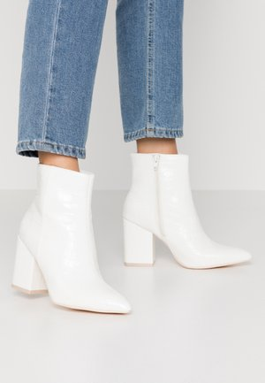 BLOCK  - High heeled ankle boots - white