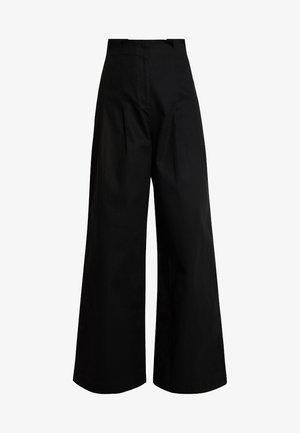 HIGH WAIST WIDE PANTS - Tygbyxor - black