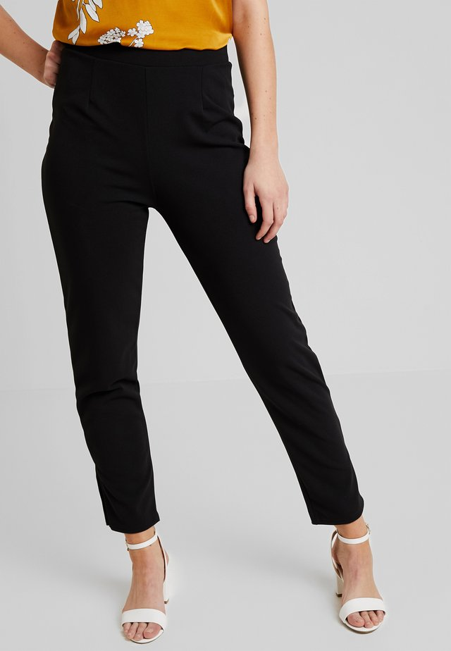 CREPE SLIT PANTS - Trousers - black