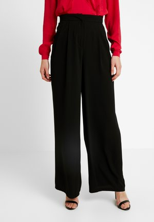 LOOSE SUIT PANTS - Kangashousut - black