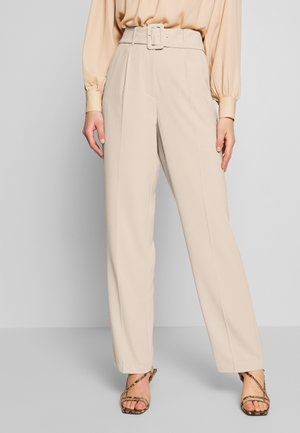 BELTED SUIT PANTS - Stoffhose - beige