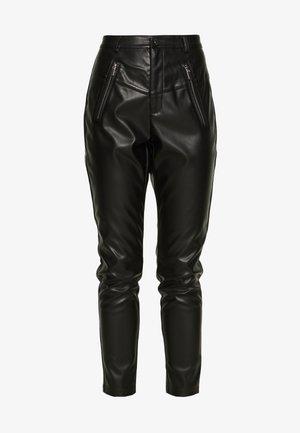 ZIP FRONT PANTS - Pantalones - black