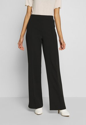 DETAILED WIDE PANTS - Trousers - black