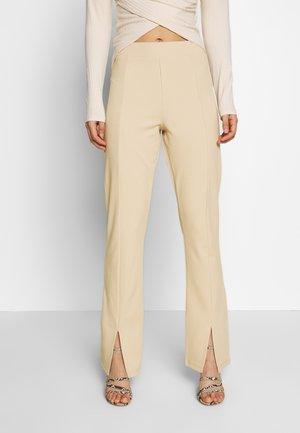 FRONT SLIT PANTS - Trousers - beige