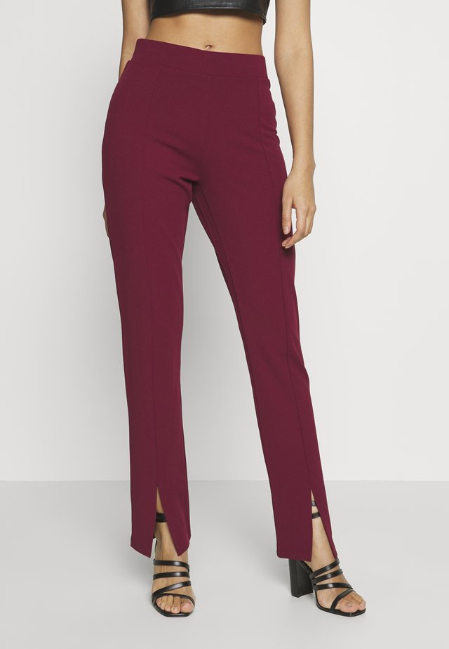 FRONT SLIT PANTS - Trousers - burgundy