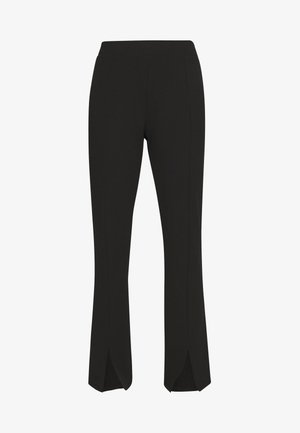 FRONT SLIT PANTS - Bukse - black