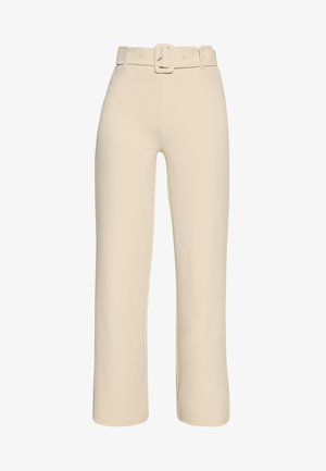 TAILORED BELT PANTS - Kalhoty - beige