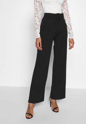 TAILORED BELT PANTS - Pantalones - black