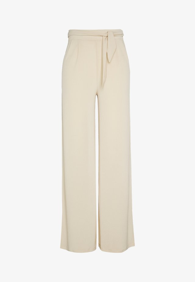 FLOWY TIE PANTS - Trousers - beige