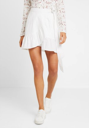 WRAPPED FRILL SKIRT - Omslagsskjørt - white