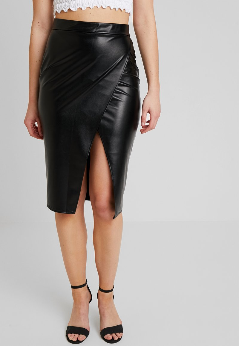 Nly by Nelly - MIDI SLIT SKIRT - Wickelrock - black