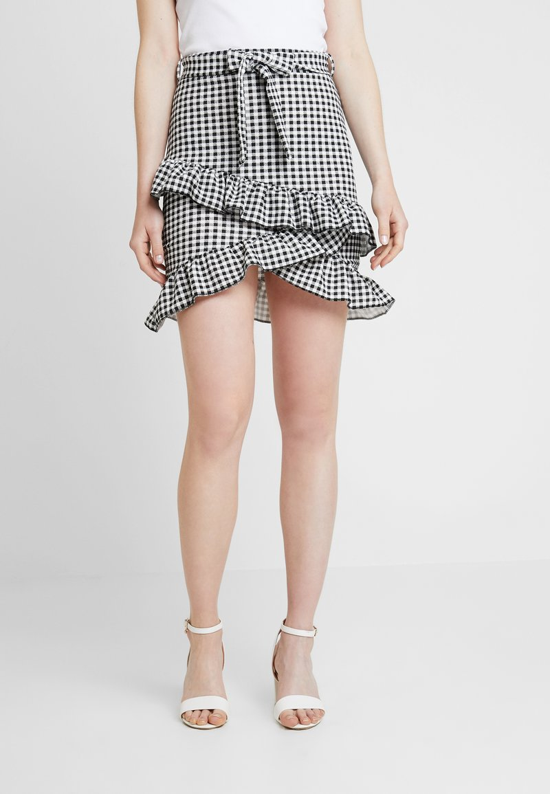 Nly by Nelly - TIE CHECK SKIRT - A-snit nederdel/ A-formede nederdele - black
