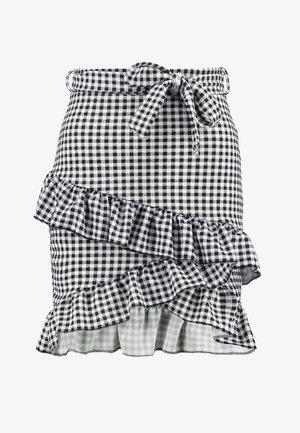 TIE CHECK SKIRT - Spódnica trapezowa - black