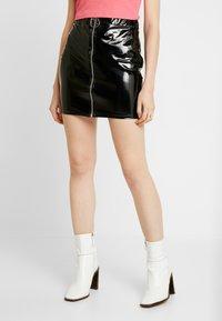 Nly by Nelly - ZIP SKIRT - Mini skirt - black - 0