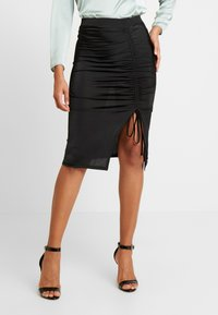 Nly by Nelly - DRAWSTRING SKIRT - Pencil skirt - black - 0