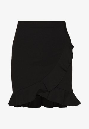 FRILL MINI SKIRT - Omlottkjol - black