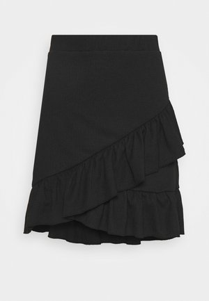 FRILL STRUCTURED SKIRT - Minisukně - black