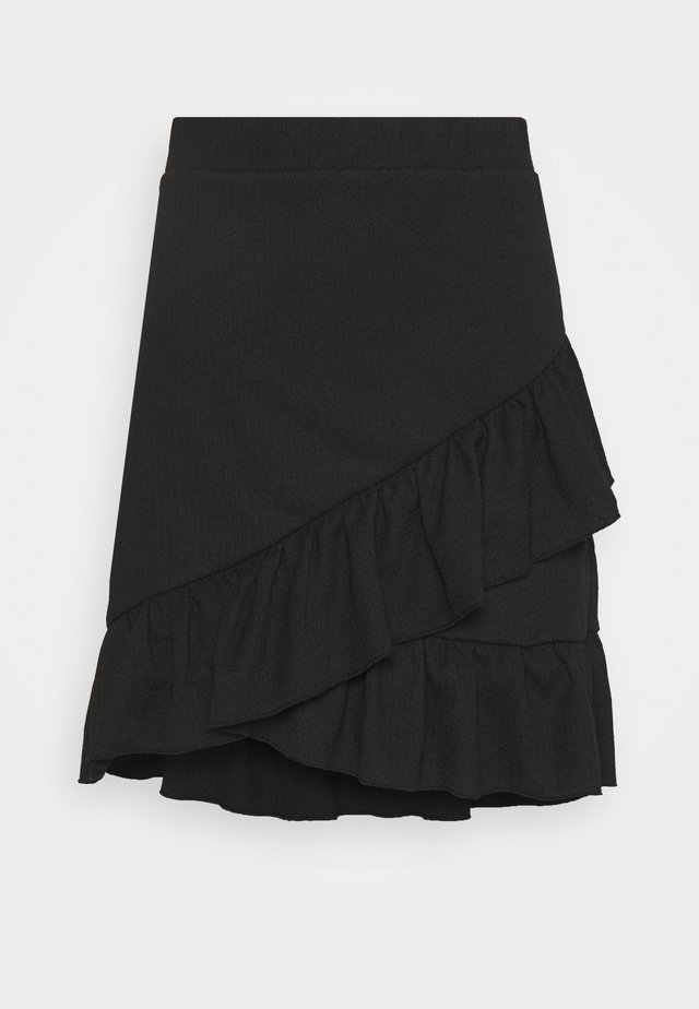 FRILL STRUCTURED SKIRT - Mini skirts  - black