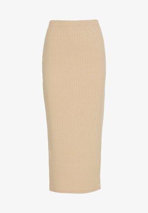MIDI SLIT SKIRT - Falda de tubo - beige