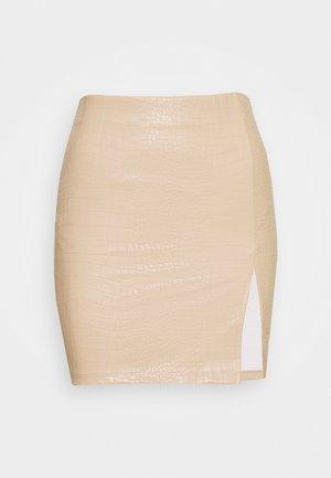 STRUCTURE MINI SKIRT - Pouzdrová sukně - beige