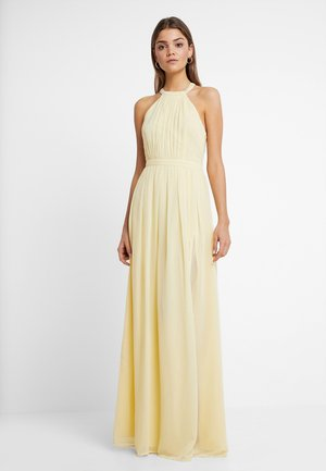 HALTERNECK BEADED GOWN - Galajurk - light yellow