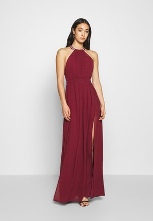 HALTERNECK BEADED GOWN - Occasion wear - burgundy