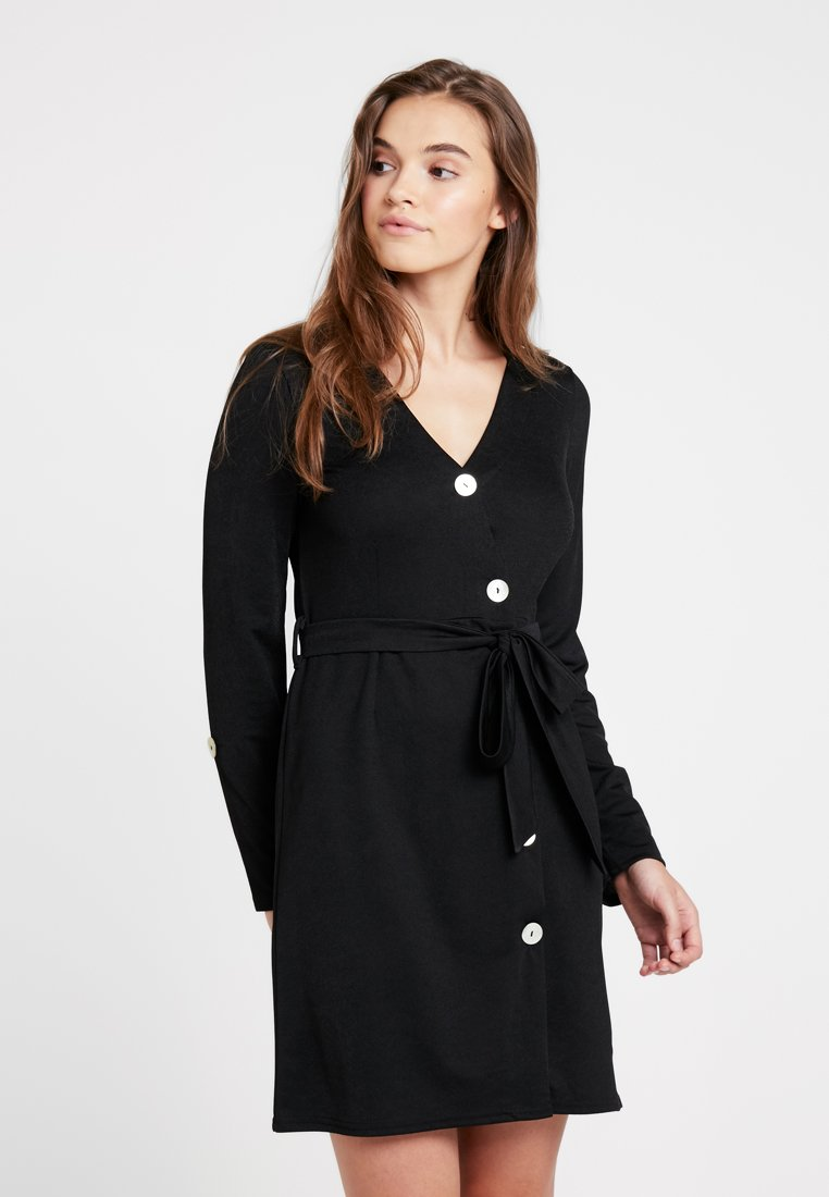 Nly by Nelly - BUTTON UP WRAP DRESS - Jerseyjurk - black
