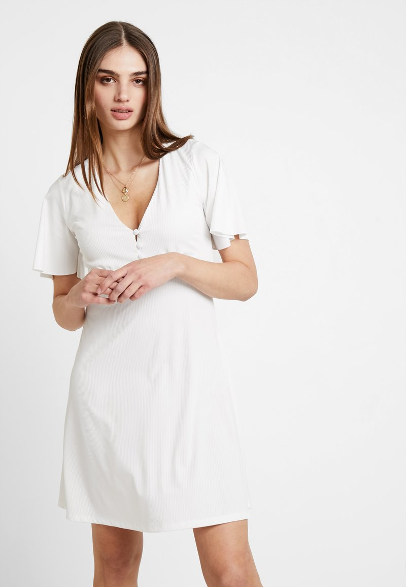 Nly by Nelly - FLARE SLEEVE BUTTON DRESS - Vestido informal - white
