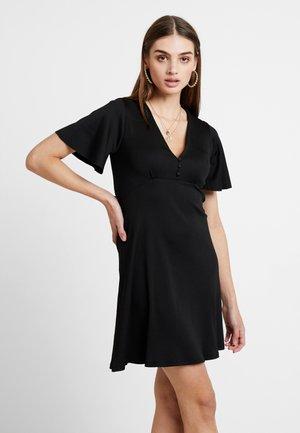 FLARE SLEEVE BUTTON DRESS - Vestito estivo - black