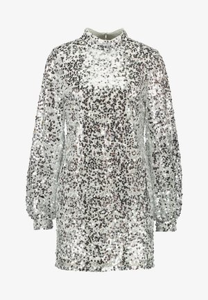 HIGH NECK SEQUIN DRESS - Vapaa-ajan mekko - silver