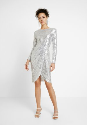 PADDED SEQUIN DRESS - Vestito elegante - silver