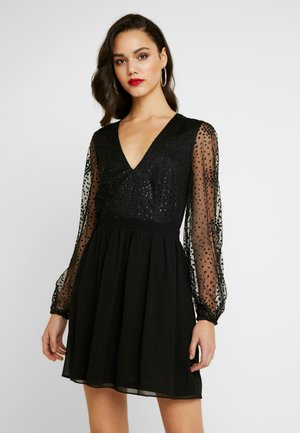 RITZY GLITTER SKATER DRESS - Cocktailkjole - black