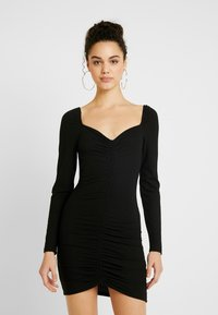 Nly by Nelly - ROUCHED DRESS - Fodralklänning - black - 0