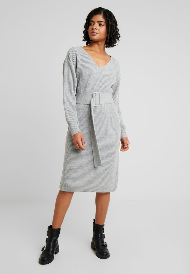 BELTED DRESS - Robe pull - grey
