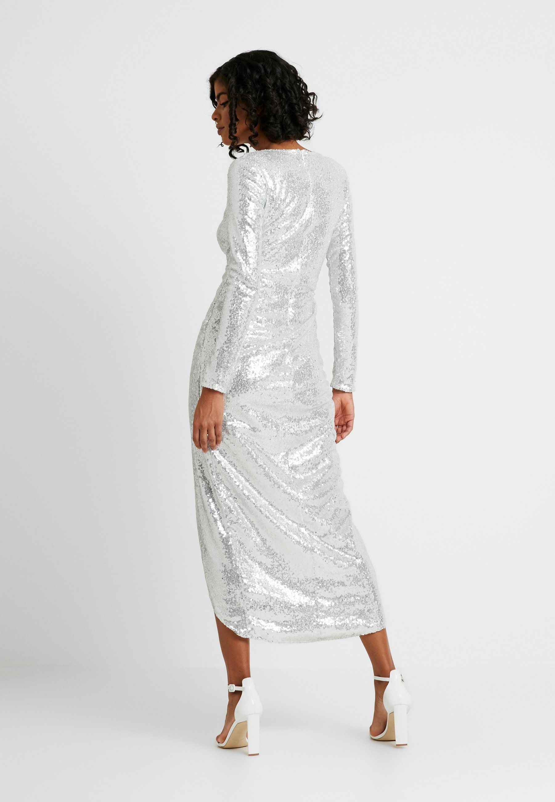 Nly by Nelly SEQUIN WRAP GOWN - Suknia balowa - silver