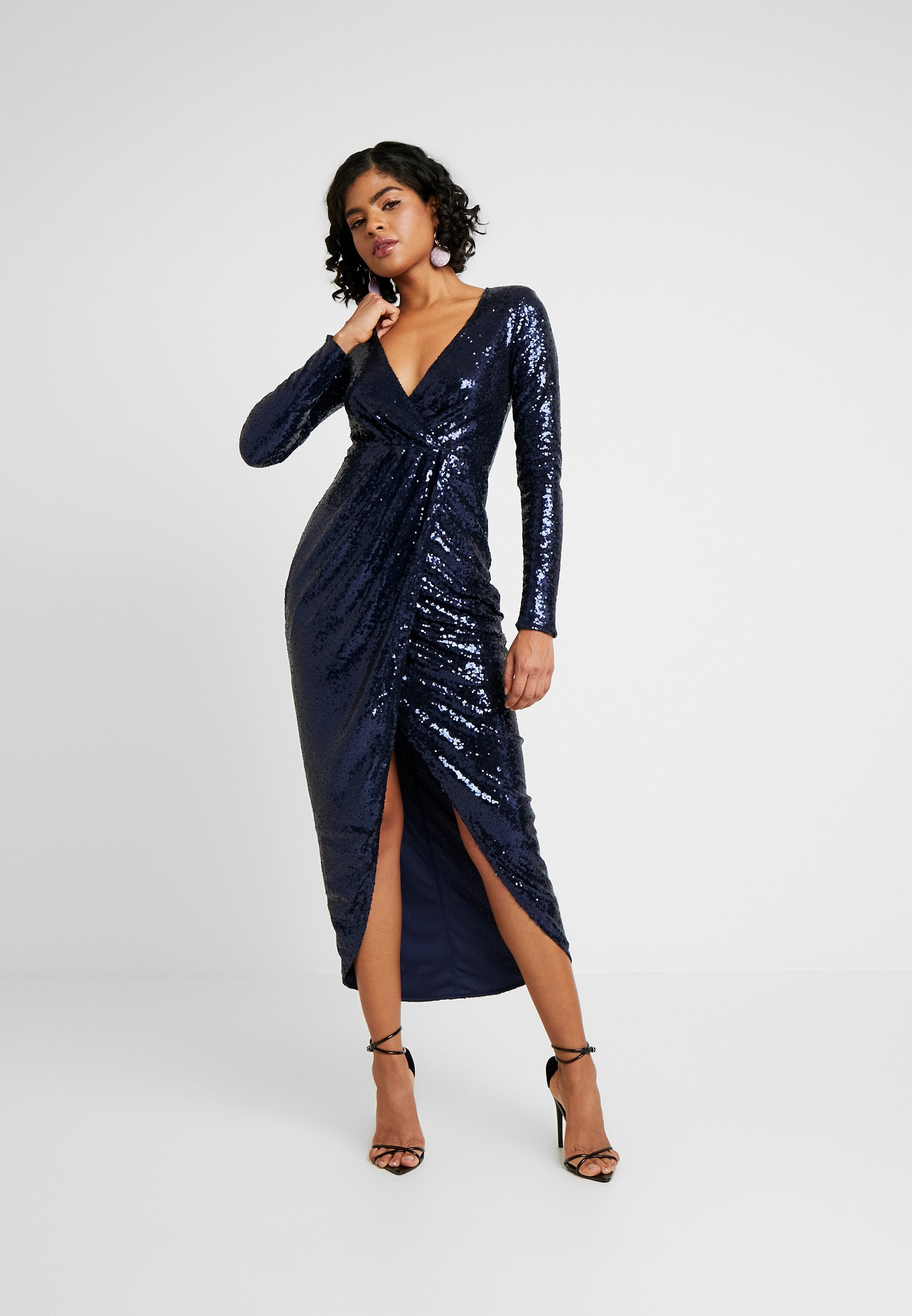 Nly By Nelly Sequin Wrap Gown - Galajurk Navy bdSlNeT