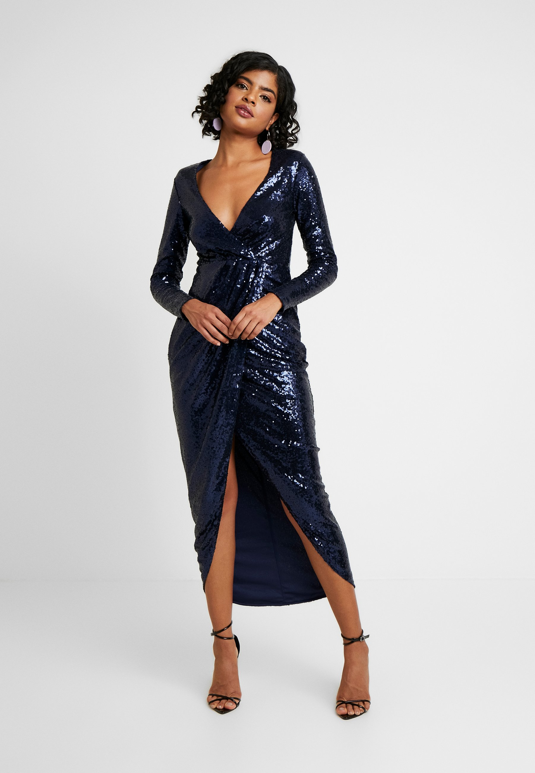 Nly by Nelly SEQUIN WRAP GOWN - Suknia balowa - navy