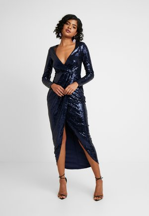 SEQUIN WRAP GOWN - Galajurk - navy