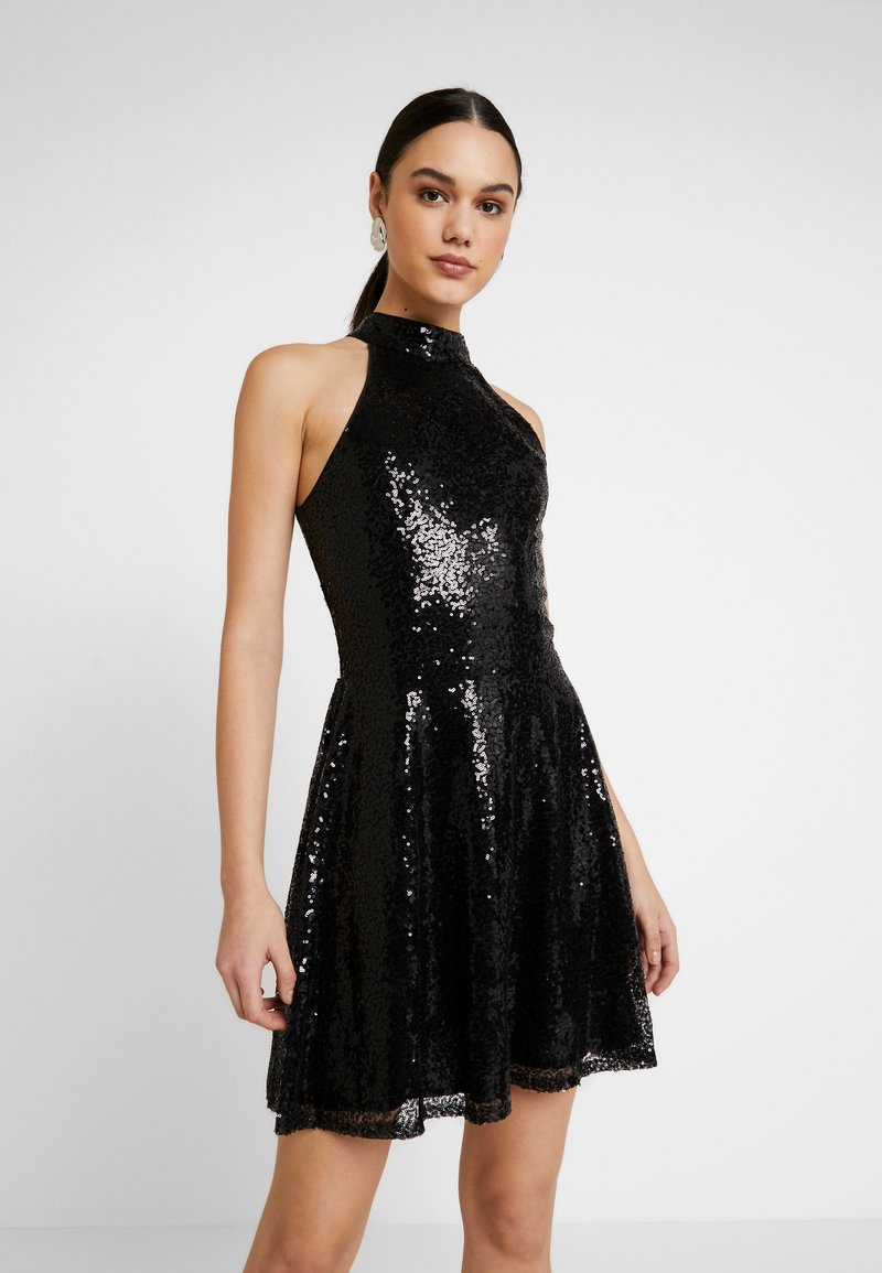 Nly by Nelly - SEQUIN SKATER DRESS - Cocktailkjole - black
