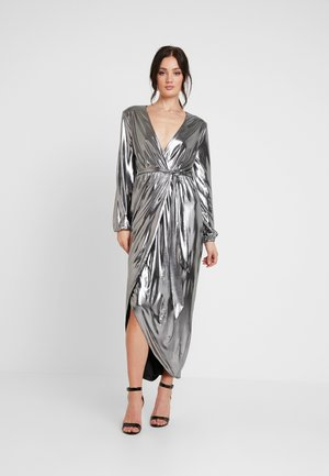 METALLIC WRAP GOWN - Occasion wear - silver