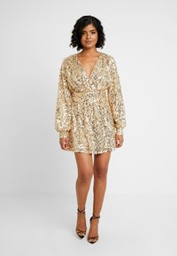 Nly by Nelly - PUFFY SLEEVE SEQUIN DRESS - Vestito elegante - gold - 0