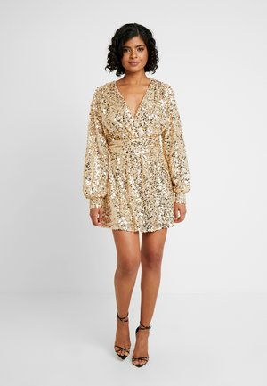PUFFY SLEEVE SEQUIN DRESS - Sukienka koktajlowa - gold