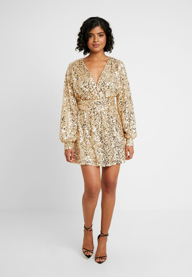 PUFFY SLEEVE SEQUIN DRESS - Vestito elegante - gold