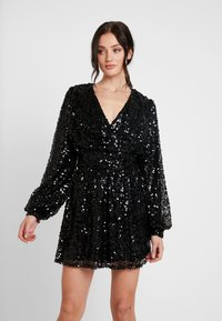 Nly by Nelly - PUFFY SLEEVE SEQUIN DRESS - Vestito elegante - black - 0