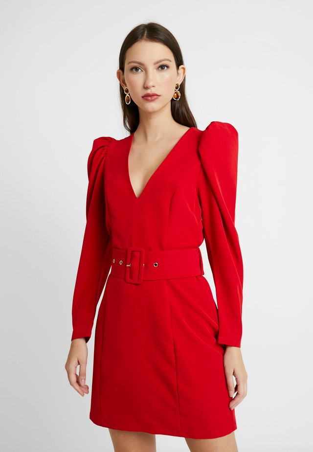 BELTED PUFF DRESS - Cocktail dress / Party dress - red