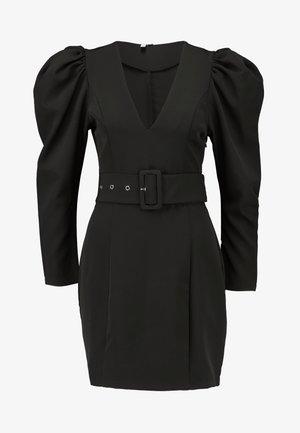 BELTED PUFF DRESS - Robe de soirée - black